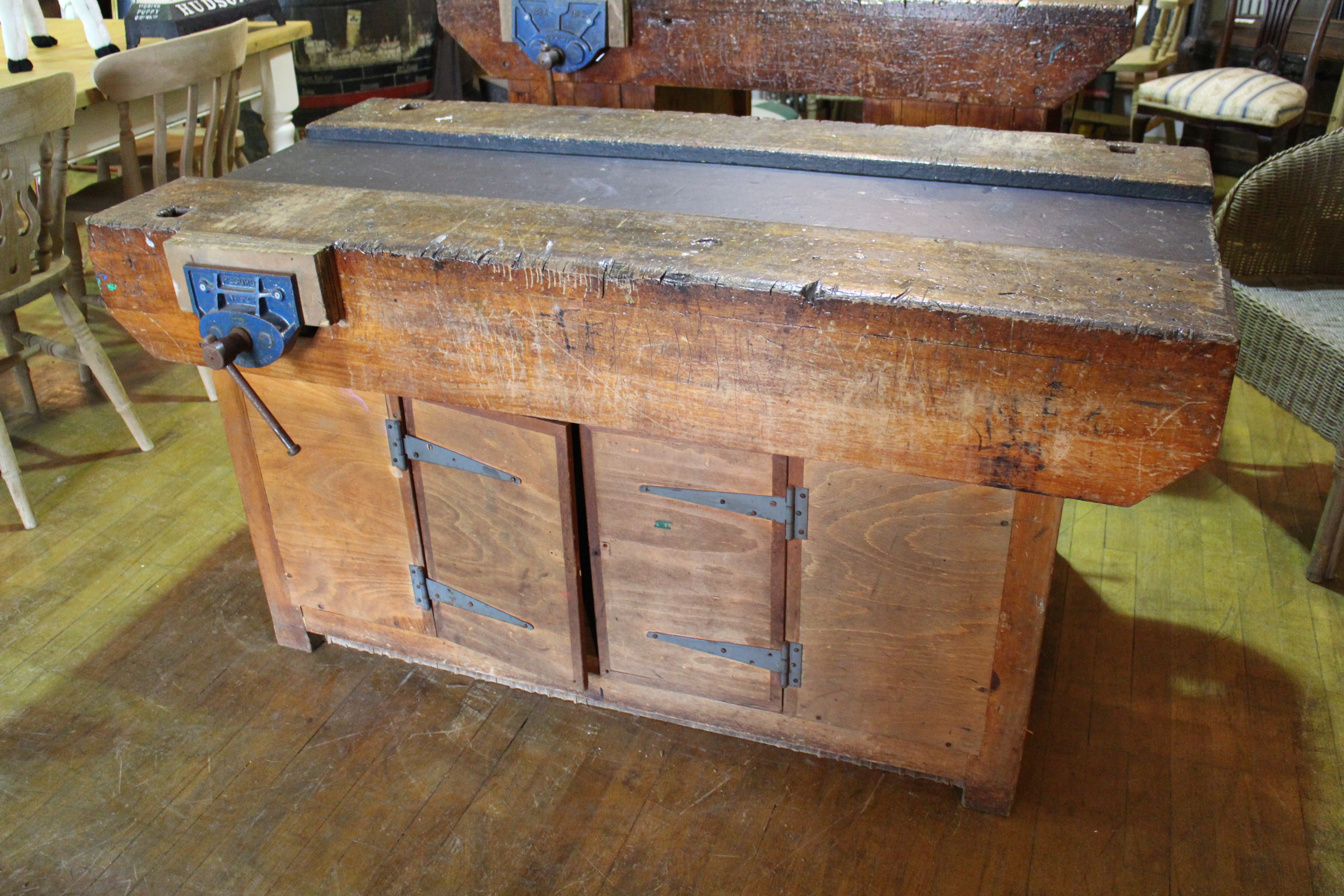 Innovative Vintage Reclaimed School Woodworking Bench Cw Two Vices